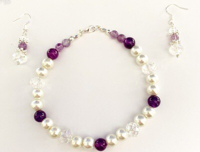 Amethyst And pearl Bracelet Set Size 6-26