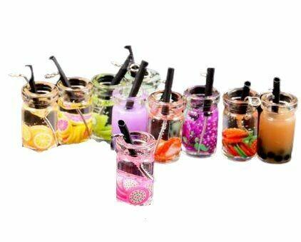 Fancy Fruit And Straw Glass Stem Charm