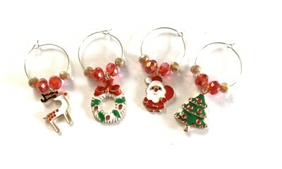 Novelty Wine Glass Christmas charms