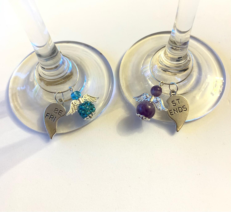 Best Friends Angel Glass Charms