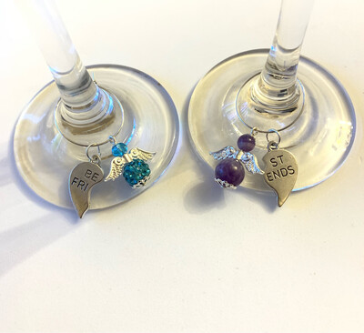 Best Friends Angel Glass Charms