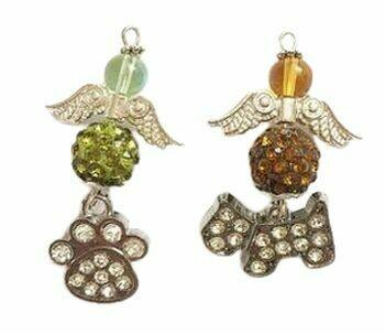 Rhinestone Crystal Dog Charm Angels