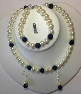 Elegance Set a hand made Pearl and Shamballa Set