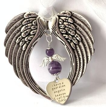 Angel Wing With Angel and Charm