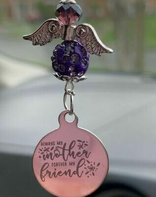 My Mother My Friend Car Angel Charm
