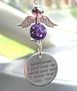 Look Up And Smile Car Angel Charm