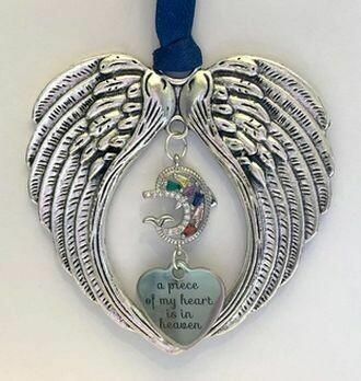 Dolphin Heart In Heaven Wind Chime Angel Wings
