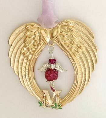 Gold Initial Wind Chime Angel And Wings