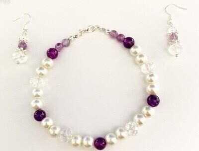 Amethyst And pearl Bracelet Set Size 6-26