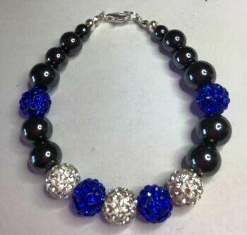Blue and White Shamballa and Hematite Gemstone Bracelet