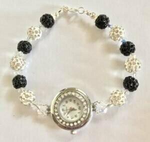 Black and White Shamballa Watch
