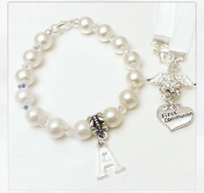 Clear Crystal Communion Angel Bracelet