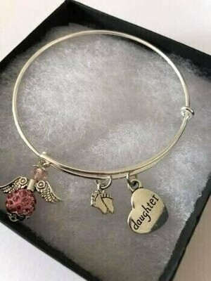 Daughter And Angel Personalised Charm Bracelet