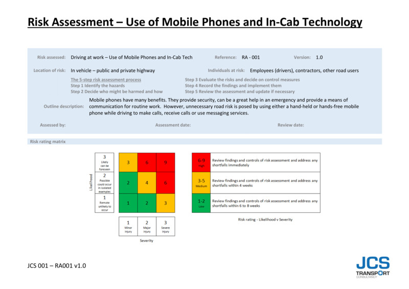 RISK ASSESSMENT – USE OF MOBILE PHONES AND IN-CAB TECHNOLOGY