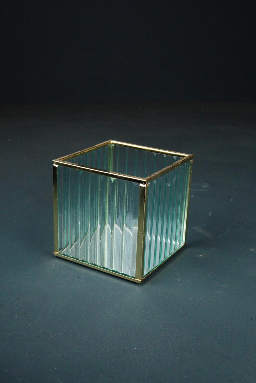 Windlicht   Glas & Gold