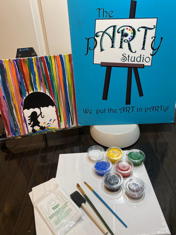 """Kids """"Colorful Rain"""" 12x12 Canvas & Paint"""