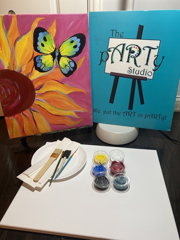 Sunflower & Butterfly 16x20 Canvas & Paint Kit