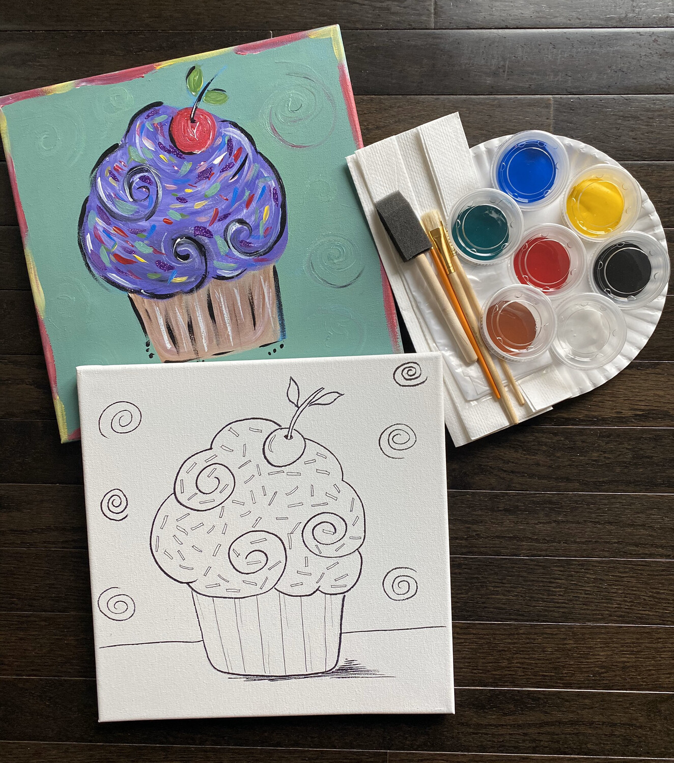 Cupcake At Home Art Kit 12x12 canvas