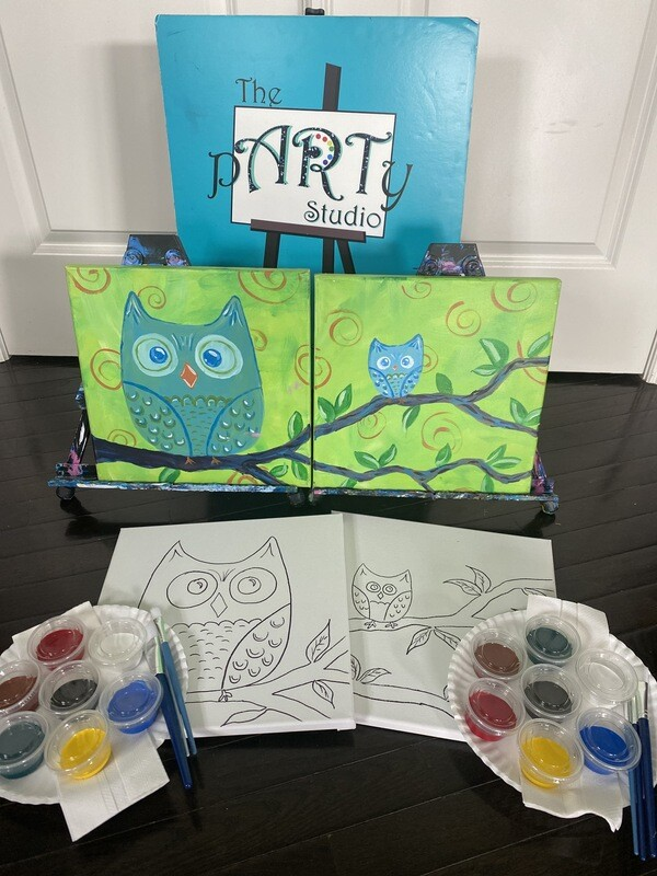 Mama & Baby Owl - At Home Art Kits  2 - 12x12 Canvases