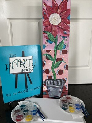 Flower Power - At Home Art Kits  2- 10x20 Canvases