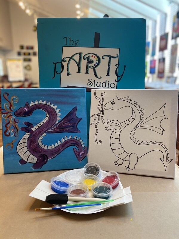 Friendly Dragon 'At Home Art Kit'  12x12 Canvas