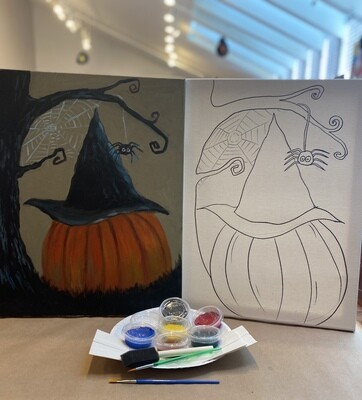 Witch Hat on Pumpkin 'At Home Art Kit' 16x20 Canvas