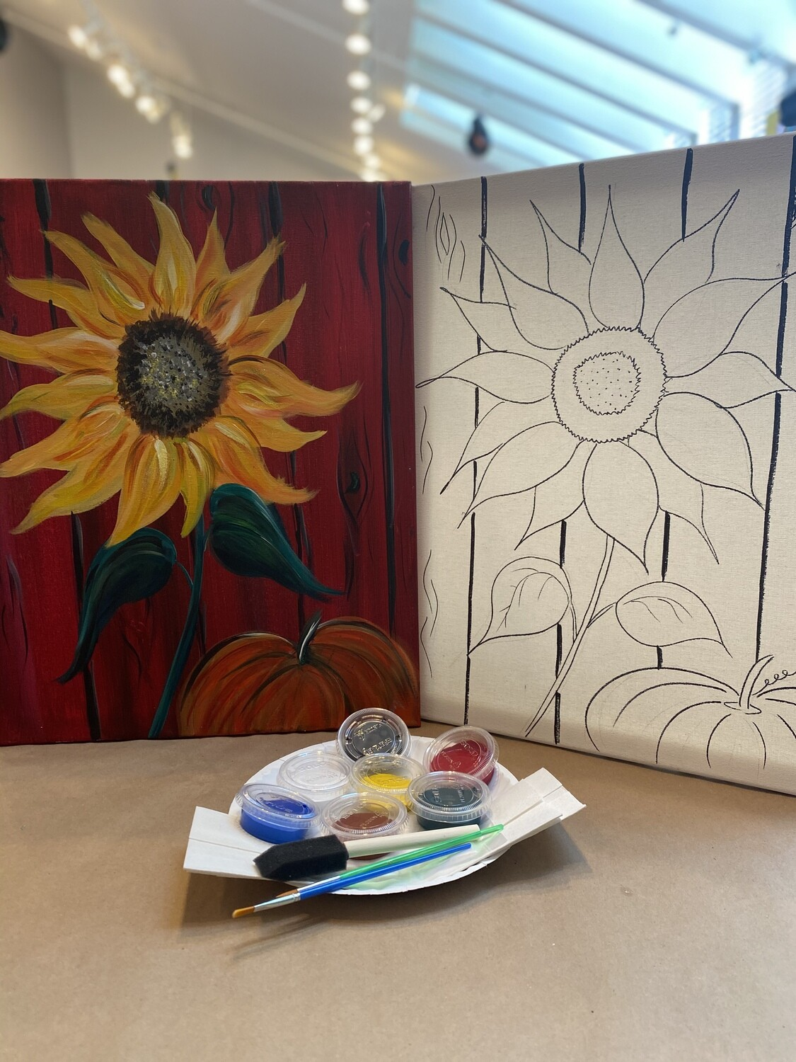 Sunflower & Pumpkin 'At Home Art Kit' 16x20 Canvas
