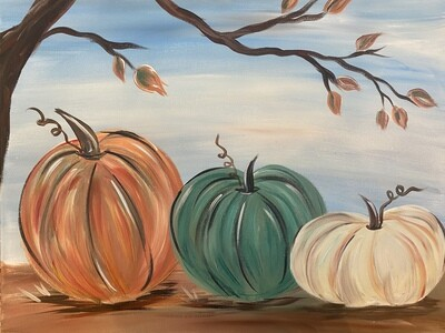 10/7/2020  6:30pm - 9:30pm  Three Pumpkins Paint Night (First Glass of Wine included in price) @  Chocolate Cafe   1855 Northwest Blvd NO COUPONS / NO DISCOUNTS ACCEPTED