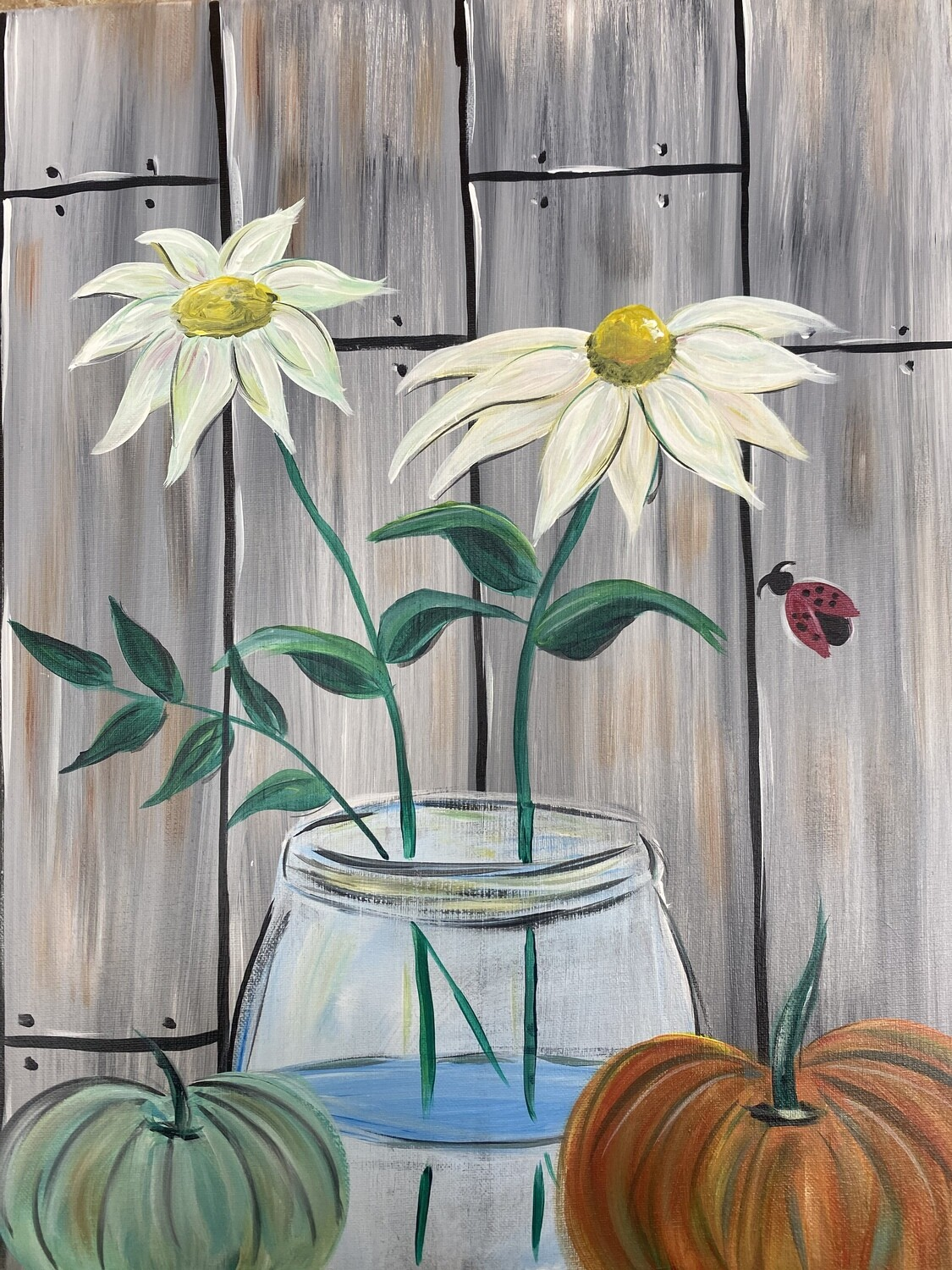"10/22/2020  6:30pm - 9:30pm ""White Daisies"" Paint Night @ The pARTy Studio"