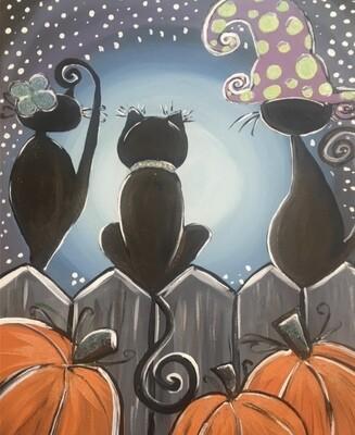 10/8/2020  6:30pm - 9:30pm Three Black Cats Paint Night @ The pARTy Studio