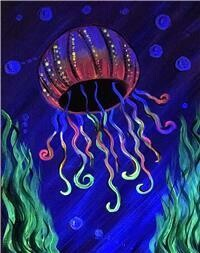 10/17/2020  7:00pm - 9:30pm UV Blacklight Jellyfish' Paint pARTy @ The pARTy Studio   (No Coupons / No Discounts Accepted)