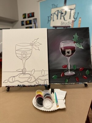 Santa's Wine - At Home Art Kit 16x20