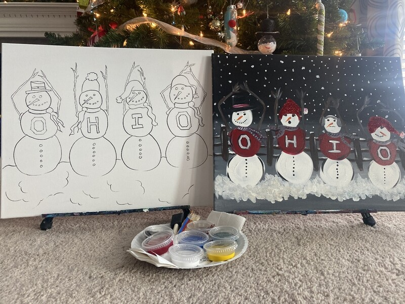 O,H.I.O. Snowmen AT HOME ART KIT 16x20