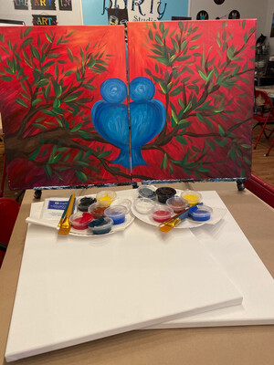 "Date Night ""Love Birds"" At Home Art Kit  2-16x20"