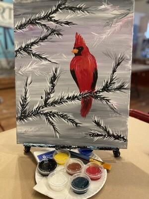 Wintery Cardinal - At Home Art Kit 16x20