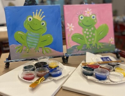 Spring Frogs - At Home Art Kits - 2 - 12x12 canvases