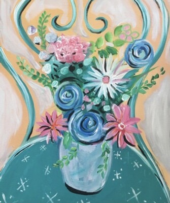 """5/17/2021  6:30pm - 9:30pm """"Flowers on a Chair"""" - Paint Night @ The pARTy Studio"""