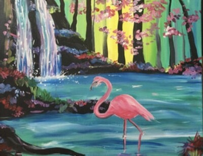 """5/27/2021  6:30pm - 9:30pm   """"Waterfall Flamingo"""" Paint Night  @ The pARTy Studio"""