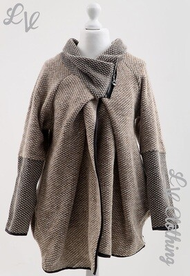 Ladies Wrap Over Knitted Coatigan Taupe