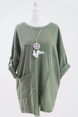 Ladies Long Sleeve Dress With Feather Design Necklace Khaki