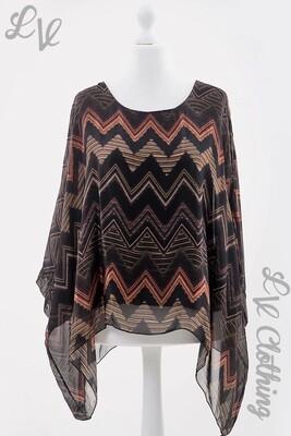 Ladies ZigZag Print Silky Batwing Top Blouse Black