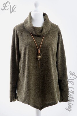 Ladies Fine Knitted Cowl Neck Jumper with Necklace Khaki