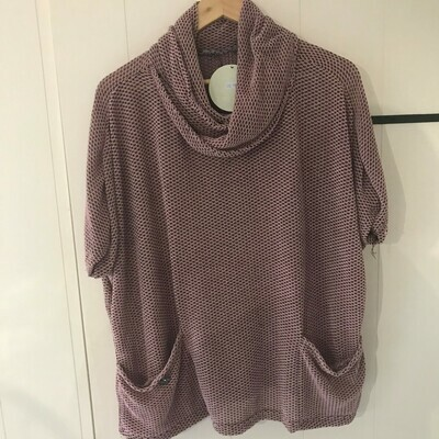 Ladies Knitted Roll Neck Poncho Jumper Pink