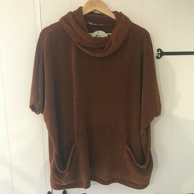 Ladies Knitted Roll Neck Poncho Jumper Rust