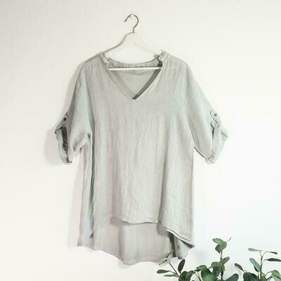 LINEN FRONT JERSEY BACK VINTAGE WASH COLLARLESS TOP WITH SILVER SATIN TRIM AND INVERTED NECK