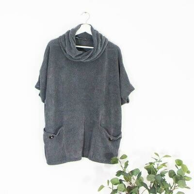 SOFT TOUCH COWL NECK TOP WITH POCKETS AND BUTTONS