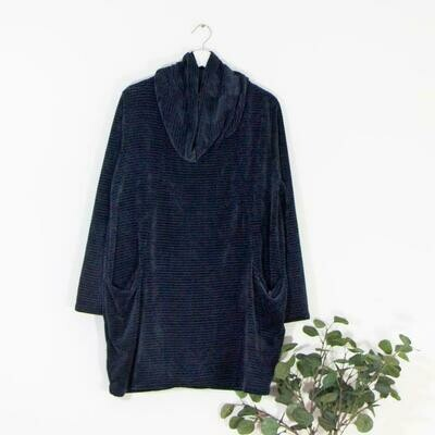 THICK CHENILLE FABRIC FREE SIZE COWL NECK TOP WITH POCKETS