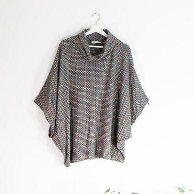LONG SOFT COWL NECK PONCHO WITH PATTERN