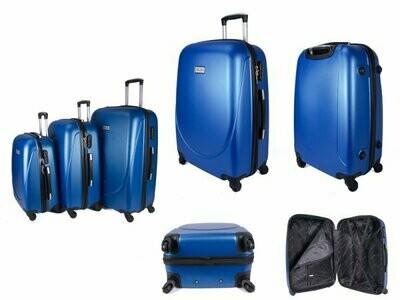 ABS-100 BLUE SET OF 3 FOUR 360 DEGREE WHEEL LUGGAGE SET