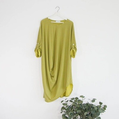 LONGLINE JERSEY TOP WITH HORIZONTAL AND VERTICAL STRIPES
